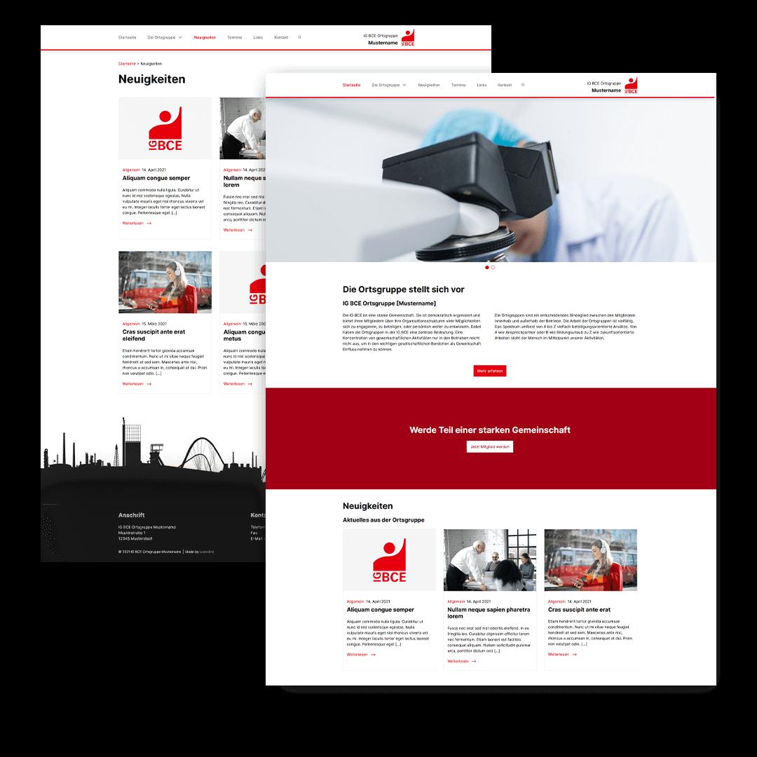 IG BCE Ortsgruppe Webseite der braindinx GmbH